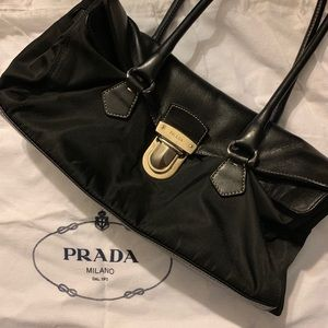 Prada Leather and Nylon Shoulder Bag